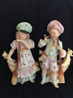 German Or French Nautical Figural Porcelain Vases