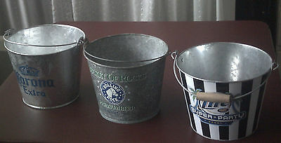 3 Beer Bucket Ice Pails. Rolling Rock Limited Edition, Corona Extra, Miller Lite