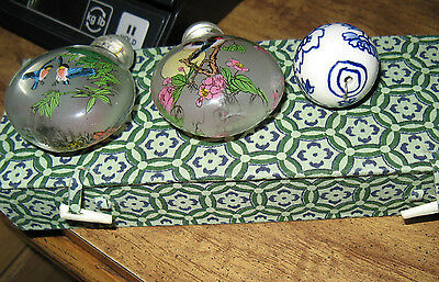 2 (Two) Glass Snuff Bottles,Asian ImagesLarge Blue & White Porcelain Bead In Box