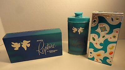 Vintage Avon Rapture Perfumed Scented 3 Soap Bars And Rapture Talc - In Box