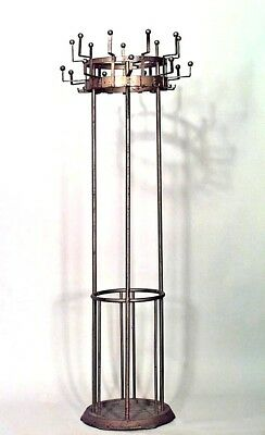 American Art Deco Gold Painted Iron Round Hatrack / Umbrella Stand