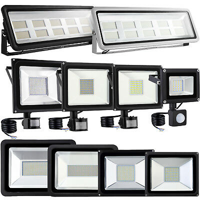 LED Floodlight 10W/20W/30W/50W/100W PIR Sensor Security Flood Light Cool Warm UK