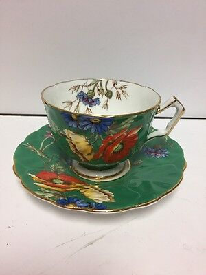 aynsley Tea Cup And Saucer Poppies 1930's. J.A. Bailey