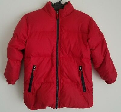 Gap Kids Boys Red Puffy Coat Jacket Size S (6-7) Long Sleeve Zipper READ NO HOOD