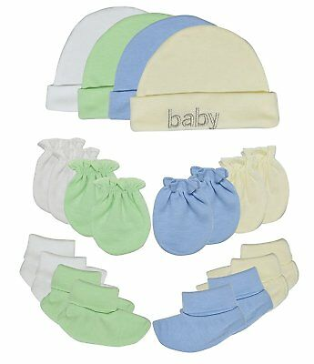 Baby Newborn 100% Cotton Caps Socks & Mittens For Boys Girls Perfect Gift 4 Sets