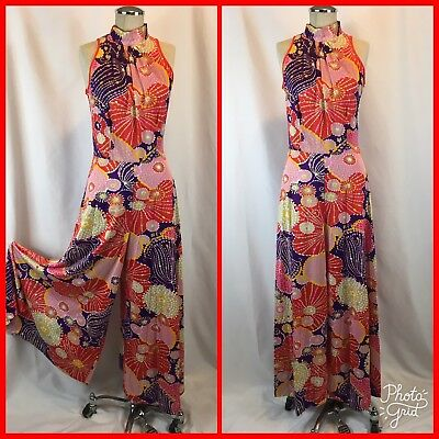 Vtg 70s Psychedelic Bell Bottom Disco Jumpsuit Romper Colorful Polyester Sz S