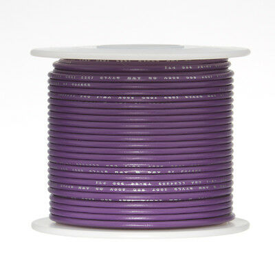 "22 AWG Gauge Stranded Hook Up Wire Violet 500 ft 0.0253"" UL1015 600 Volts"