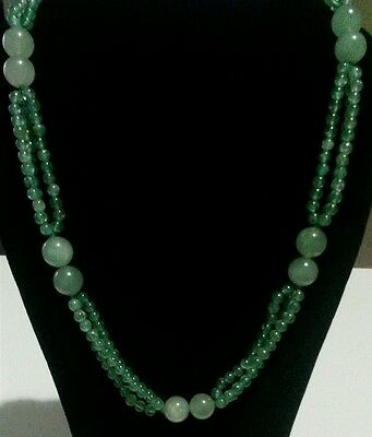 """Chinese Green Imperial Jade, Jadeite Nephrite Bead Necklace Beautiful 13.5"""" 63g"""