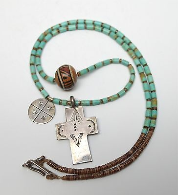 Old Pawn Pueblo Turquoise Silver Cross Pottery Bead Heishi Necklace