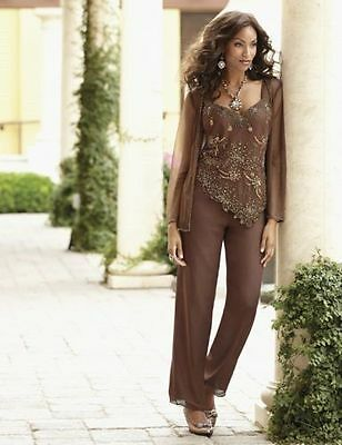 Copper Beaded Pant Set Formal Wedding Dress Mother of the Bride Groom Sz S XL 1X