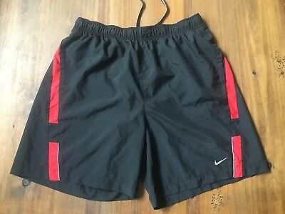 NIKE Mens Dri Fit Athletic Running Shorts ~ Size Large L ~ Black / Red EUC!!