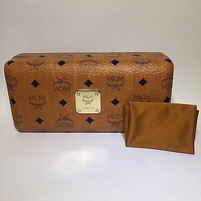 MCM Cognac Brown Monogram Sunglasses Eyeglasses Hard Clamshell Case with Cloth