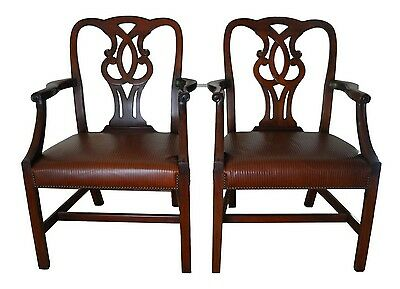 A pair of Baker Furniture Leather Pretzel Back Chippendale Mahogany Occasional C