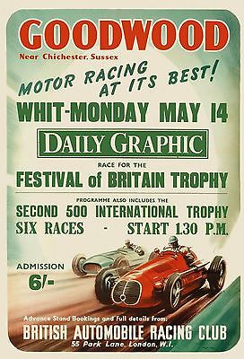 Goodwood Motor Racing 1951 Vintage GWM01 A3 A4 POSTER BUY 2 GET 1 FREE
