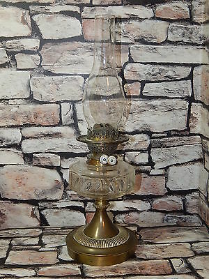 Antique Victorian James Hinks &Son Patent Duplex oil lamp brass with glass flute