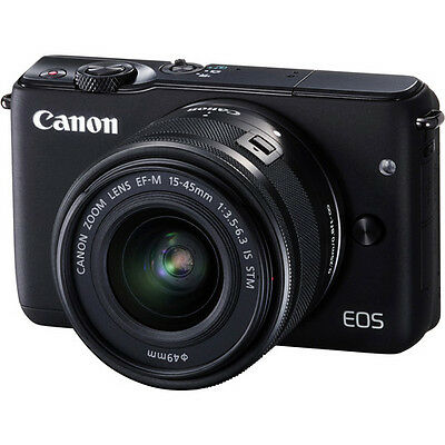 Canon EOS M10 Mirrorless Digital Camera - Black with 15-45mm Lens