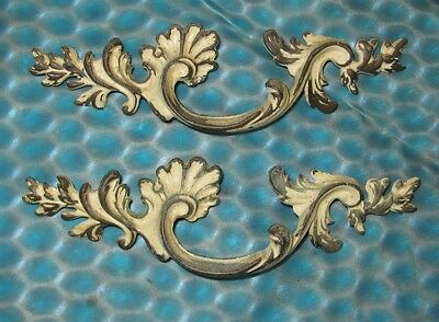 Set 2 Vintage Brass Decorative Leafy French Provincial Dresser Drawer Pulls 8""