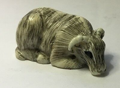 Authentic, Unsigned Late 18Th-19Th Century Netsuke Bull/bison-Type Figurine