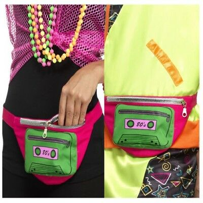 Smiffys Womens 80's Bumbag Festival Travel Wallet Waist Pouch Costume Accessory