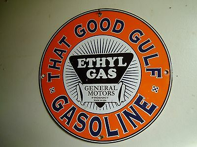 Gulf Gasoline Station porcelain gas pump sign