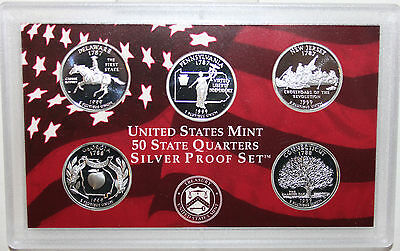 1999 S Five Coin State QUARTER Proof 5 Coin 90% Silver Statehood Coins 25c