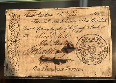 Rare £100 1776 SC South Carolina George Washington Colonial Revolution Currency