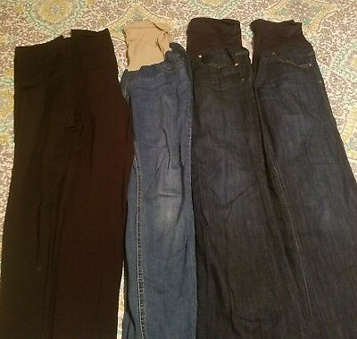 Maternity jeans and leggings lot, size 31 and large.