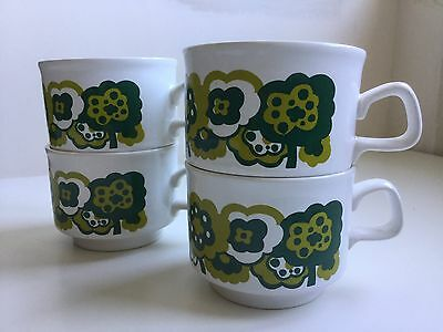 Vintage Retro Staffordshire Potteries Cups Mugs Green And White