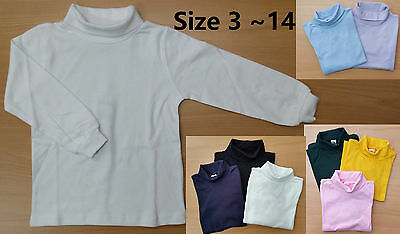 Kids Boys Girls Unisex Cotton Skivvy School Uniform