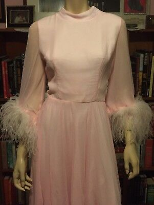 Vintage 1960s PINK SILK CHIFFON OSTRICH FEATHERS Sheer GoGo Party Dress MAD MOD
