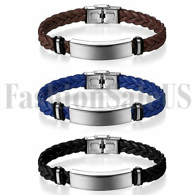 Hot Men Women Multilayer Leather Bracelet Handmade Wristband Bangle Metal Buckle
