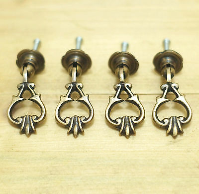Set of 4 pcs Vintage Drop Ring Victorian EARRING DROP Pull Knobs Drawer Pulls