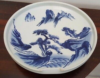 Vintage Asian Blue & White Pottery / Stoneware Dish / Bowl - Indented Sides