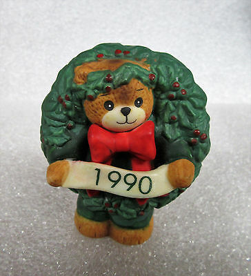 Lucy and Me ~ Christmas Wreath 1990 ~ Teddy Bear Porcelain Figurine