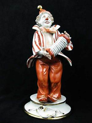 Capodimonte Italy Porcelain Clown Playing Accordion Figurine Signed And Numbered