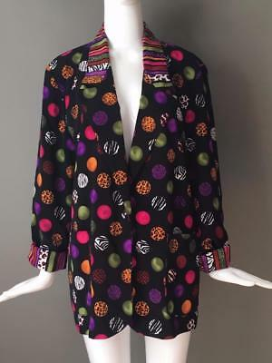 Super Cute Vtg 80s Boyfriend Blazer Bright Bold Print Longer Length M