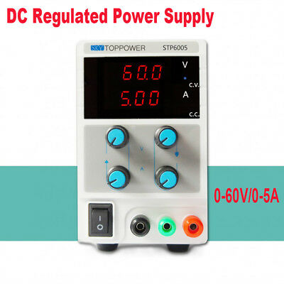 60V 5A 4-Digit Variable Switching DC Power Supply Regulated Lab Grade +Cable coi