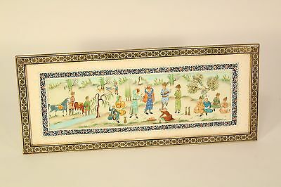Vtg Celluloid Khatam Inlaid Marquetry Persian Iran Art Painting Standing Frame