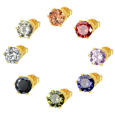 Classic Women Men Gold Plated AAA+ Round Cubic Zirconia CZ Stud Earrings Jewelry