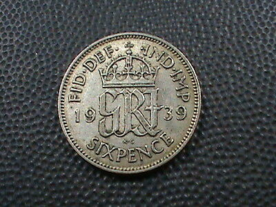 GREAT  BRITAIN     6  Pence   1939    SILVER