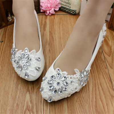 Women Lace White Crystal Wedding Shoes Bridal Flats Low High Heel Pump