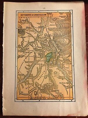 """1936 Vintage Map of """"Environs of Jerusalem"""" & """"Palestine in the Time of Christ"""""""