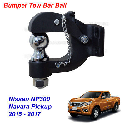 Bumper Tow Bar Towbar Ball Hamer Matte Black Trim For Nissan NP300 2015 - 2017