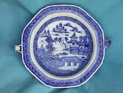 Chinese Export Blue White Nanking Warming Plate 1800s 清中期道光 (Cobalt)