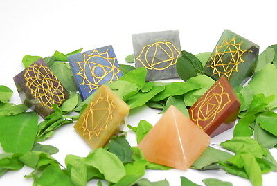 7 Chakra Set Of 7 Natural Healing Reiki Sign Engraved Pyramids Chakra Set Stones