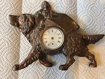 Antique 1891 Golden Novelty Mfg. Co. Bronzed Mantel / Desk Clock Dog / Child