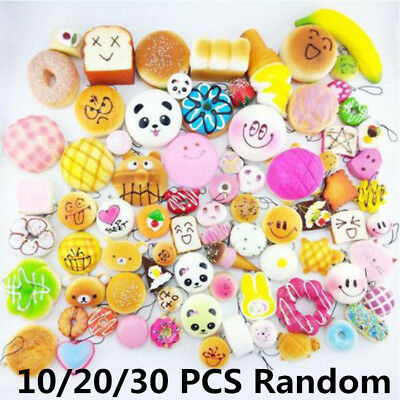 10/20/30pcs Squishy Charms Kawaii Foods Squishies Cake Phone Straps Charm Toy