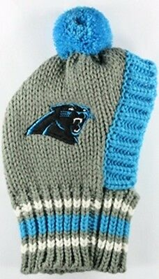 Carolina Panthers  NFL Official Pet Wear Knit Ski Hat for Dogs in Size  Large