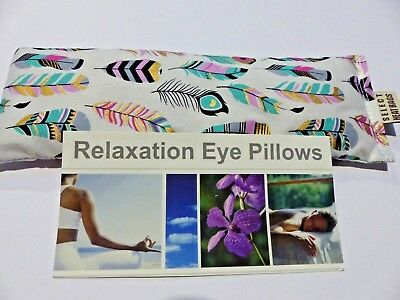 Cotton Eye Pillow Linseed Yoga TRIBAL FEATHERS boho 24 x 8 cm Lavender Unscented