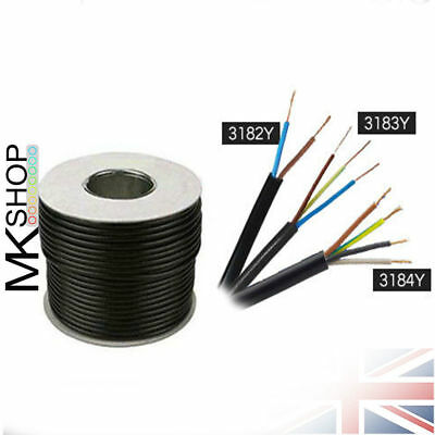 Black Round 3183Y 2.5mm 24 Amp 3 Core Flexible Cable Wire Electrician Install